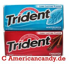 4x 14 Trident Gomme à Mâcher USA sans Sucre (Wintergreen & Cannelle) (9,37 €/
