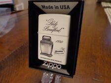 LADY BRADFORD TABLE LIGHTER 1950 WHITE MATTE ZIPPO LIGHTER MINT IN BOX