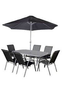 6 Seater Outdoor Patio Set Garden Furniture Large Table And Stackable Chairs