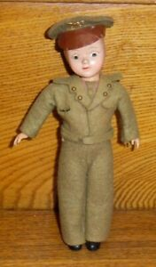 Vintage Hard Plastic WWI Or WWII Military Officer Doll - Head Is Detached - 7.5""