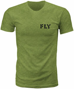Fly Racing Fly Military Tee Military Green Heather Lg 352-0631L
