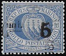 1892 San Marino 5c su 10c oltr. cancelled Sass n. 8Ax