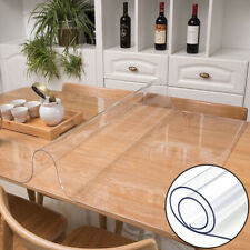 WR_Transparent PVC Table Cover Water Resistant Non-slip Tablecloth Kitchen Decor