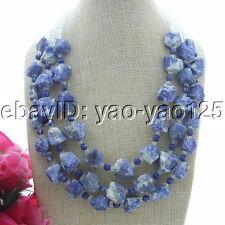 3 Strands Blue Sodalite Rough Sea Sediment Jasper Crystal Necklace