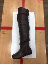 Brown pu leather over the knee boots