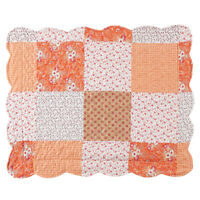 Amber Mini Floral Patchwork Quilt Bedding Coverlet with Scalloped Edges