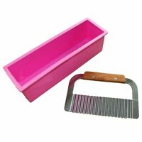 Rectangle Loaf  Silicone Soap Mold with Wavy Stainless Steel Soap Cutter Slicer