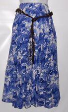 Laura Scott Ladies Floral Crinkle Skirt & Beaded Belt Nautical Blue Large (L)