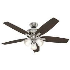 """Hunter 52"""" Newsome Brushed Nickel Ceiling Fan with Light"""