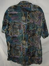 Vtg Bonetti 100% Silk Ugly Abstract MultiColor Camp Lounge Italian Shirt Men's L