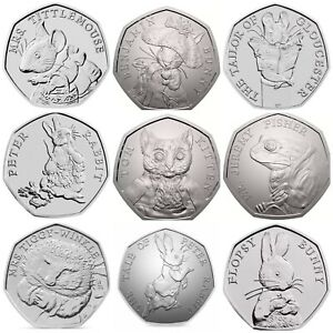 Beatrix Potter 2017,2018,2019 50p Coins Uncirculated