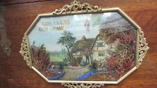 CHRISTIAN ANTIQUE PICTURE GOD BLESS OUR HOME CURVED GLASS BRASS FRAME JESUS