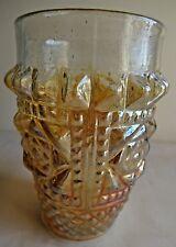 Vintage Carnival Glass Tumblers Diamond Mine Jain Glas Works India Rare#49 F