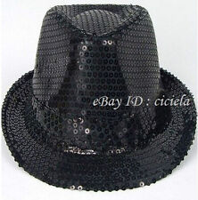 Men Women Glitter Sequin Fedora Trilby Cap Dance Jazz Hat Gangster Party Costume