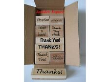 9 x Wooden Backed Rubber Stamp Set - Variety of Thanks Sentiments AM443