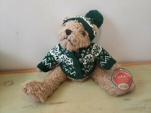 HollyBeary Teddy Bear Holly Beary USA Kodie in Green Sweater Hat North Pole New