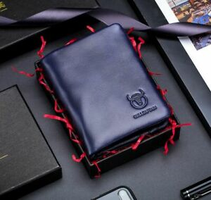 Retro Mens Genuine Leather RFID Wallet Credit Card Holder Coin Pocket Purse