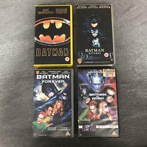 Batman 1989, Returns, Forever & Batman & Robin Vhs Tapes x 4