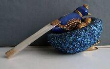 Vintage Legend of  Christmas Ornament - Blue Clip-on Bird on Nest - NAPCOWARE