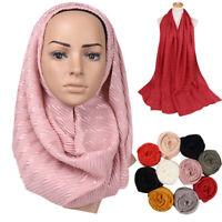 Women Ladies Wrinkle Muslim Stripe Scarf Shawl Hijab Islamic Head Wraps Scarves