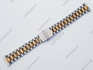 NEW 20MM 2-TONE STEEL / GOLD PLATED GENTS WATCH STRAP FOR SEIKO (SE-27)