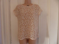 Warehouse size 12 beige lace top with silver sparkle buttons at the back