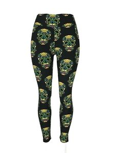 Colorful Mustached Sugar Skulls Black Bckgrnd Tall & Curvy Yoga Waist TC Soft