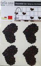 Wandtattoo Fliesenbild Aufkleber Kaffee Herz - 12 teilig