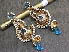 Turquoise Blue Kundan Polki CZ Pearl Filigree Dangler Kundan Long Earring