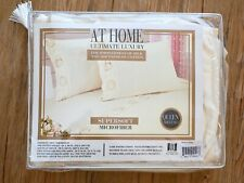 At Home Luxury Embroidered Sea Shell Polyester Microfiber Queen Sheet Set, Ivory