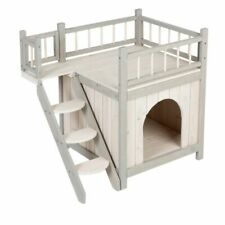 Outdoor Cat Dog Den House Pet Shelter Kennel Indoor Outside Wooden 3 Deck Stairs