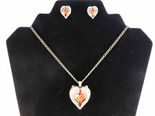 Vintage Style Red Rhinestone Heart and Wings Necklace & Earrings Set