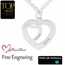 Any Name Engraved Silver Jewellery Personalised Love Heart Inside Heart Necklace