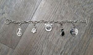 Cute Cat Kitten Paw Heart You Had Me At Meow Charm Bracelet Silver Tone Jewelry