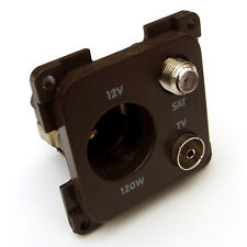 TV, SATELLITE & 12V BROWN SOCKET for CBE or C-LINE SYSTEMS CARAVAN MOTORHOME