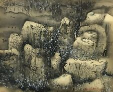 "C C Wang ""Villages in the Snow"" original lithograph art"