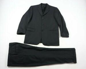 Burberry London Bond Street Navy Blue Green Pinstripe Wool 2 PC Suit Size 41/34R