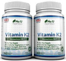 Vitamin K2 Menaquinon MK7 200mcg 365 2 bottles Vegetarian, Vegan Tablets UK Made