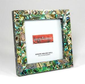 Genuine Abalone Paua Shell  Mother of Pearl Picture Frame 3.5x3.5 Photo Handmade