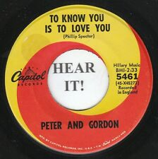 Peter and Gordon BRIT 45 (Capitol 5461) To Know You is to Love You/I Told  VG+