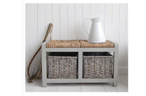 PM&PP Grey Storage Wooden Bench Seat with 2 Wicker Baskets  42 x 74 x 38 cm
