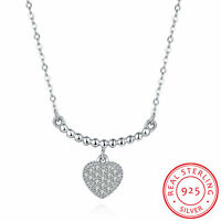 Fashion 925 Silver Necklaces Heart Pendant Chain Charm Women Jewelry Best Gift