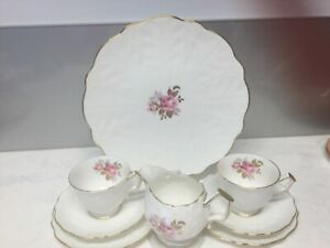 AYNSLEY TRIOS X  2 PLATE  AND MILK JUG PATTERNED BONE CHINA PERFECT CONDITION