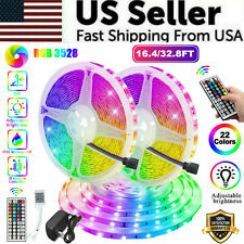 Waterproof 16FT/32FT Flexible 3528 RGB LED SMD Strip Light Remote Room Party 12V