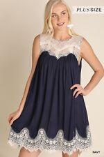 NWT Womens Umgee Plus Size Navy Boho Bohemian Lace Tank Dress XL WG0716