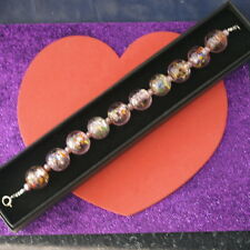 """Beautiful Bracelet With Murano Class And Pink Pearls 8"""" Inches Long In Gift  Box"""