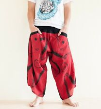 Hippie Japanese Style Harem Pants Yoga Trousers Casual Summer Ninja Brush Red