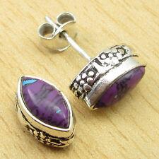 925 Silver Overlay Wonderful PURPLE COPPER TURQUOISE GEMSET STUD Earrings 1.1 CM