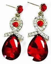 EARRING Rhinestone crystal PROM PARTY gemstone Dangle Burgendy RED silver Drop