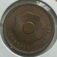 1895 Peru 2 Centavos - Uncirculated Copper
